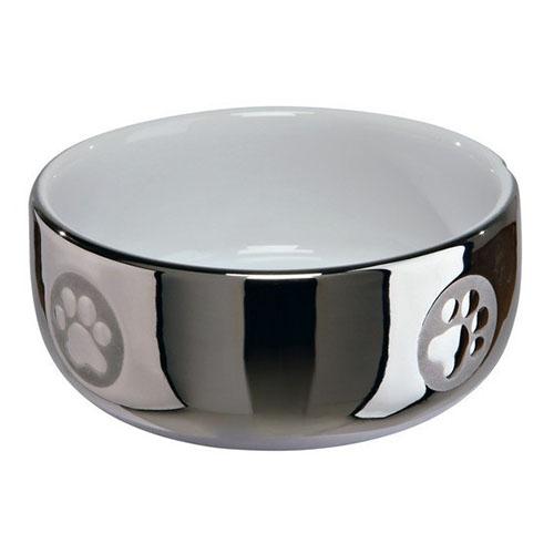 Миска керамическая для кошек серебро/белая