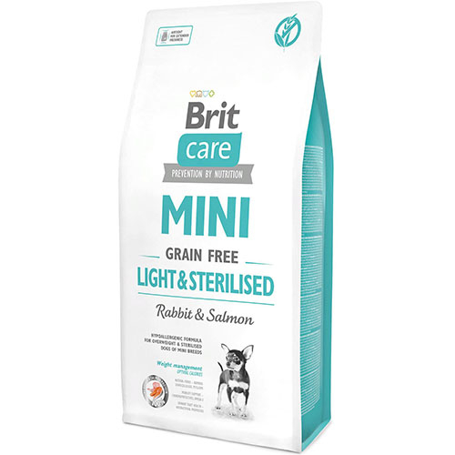 Brit Care Mini Light & Sterilised - Беззерновой корм с кроликом и лососем для стерилизованных собак малых пород