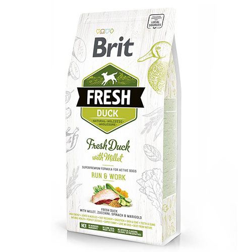 Brit Fresh Duck and Millet Active Run & Work - сухой корм с уткой  и пшеном для взрослых собак с повышенной активностью