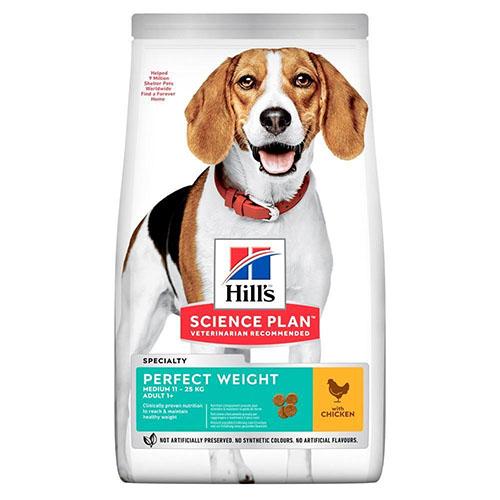 Hills SP Canine Adult Medium Breed Perfect Weight корм с курицей для поддержания идеального веса у средних пород
