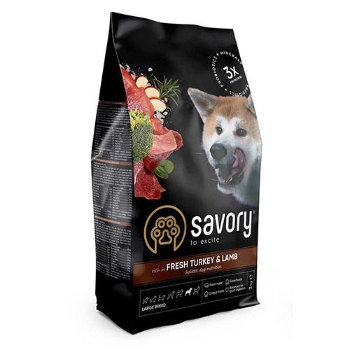 Сухой корм Savory для собак крупных пород со свежим мясом индейки и ягненка