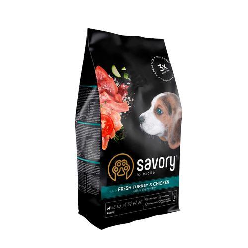 Сухой корм Savory для щенков со свежим мясом индейки и курицей