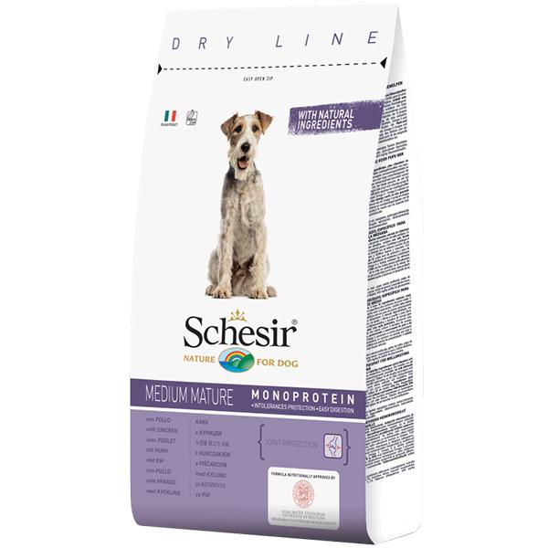 Schesir Dog Medium Mature - Шезир курица сухой монопротеиновый корм для пожилых или малоактивных собак средних пород