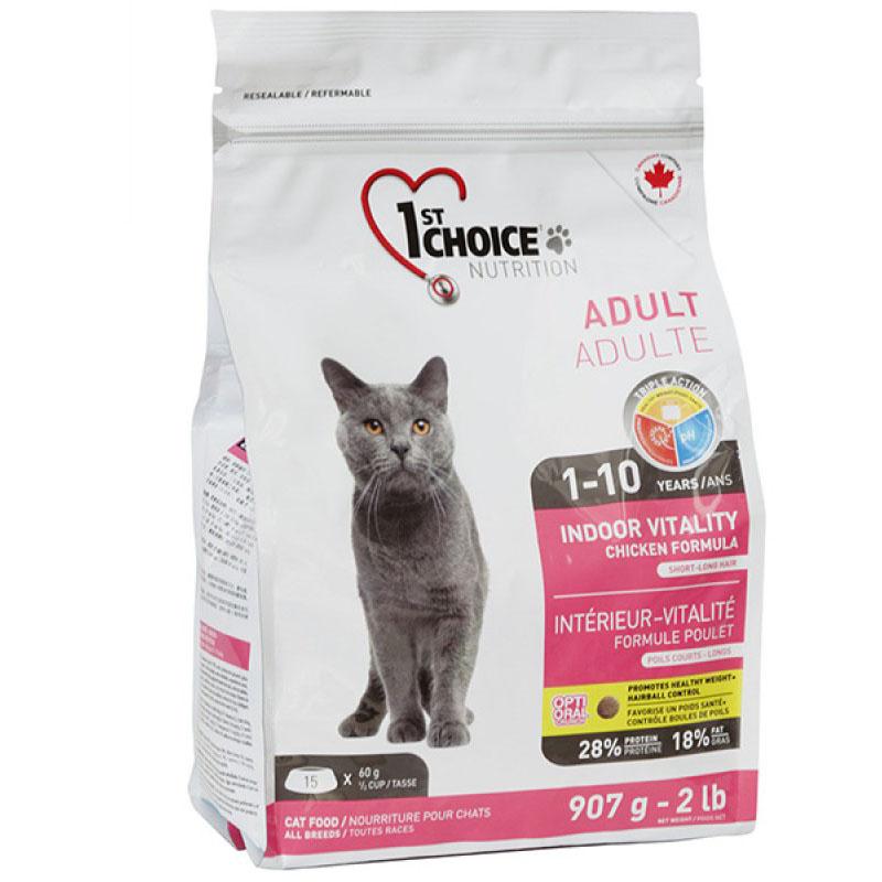 1st Choice Adult Cat Indoor Vitality - Фест Чойс корм для взрослых кошек не покидающих помещение с курицей