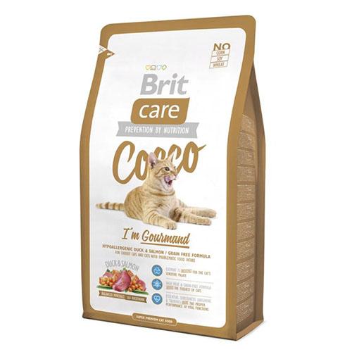 Brit Care COCCO Gourmand - Гипоаллергенный сухой корм для привередливых кошек с уткой и лососем