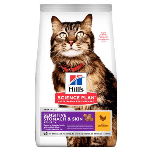 Hills Adult Stomach & Skin Хиллс Корм для взрослых кошек у которых чувствительное пищеварение и кожа