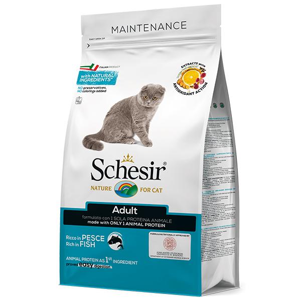 Schesir Cat Adult Fish - Шезир рыба сухой монопротеиновый корм для котов