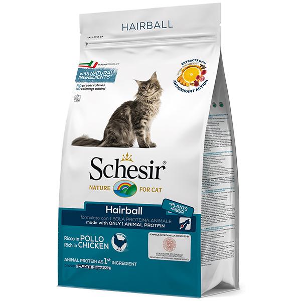 Schesir Cat Hairball - Шезир для выведения шерсти сухой монопротеиновый корм для котов с длинной шерстью