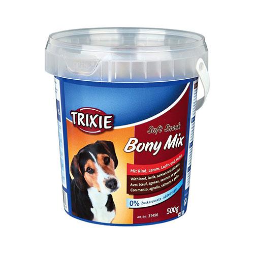 Trixie Soft Snack Bony Mix Лакомство для собак с говядиной, ягненком, лососем и курицей (ведро)