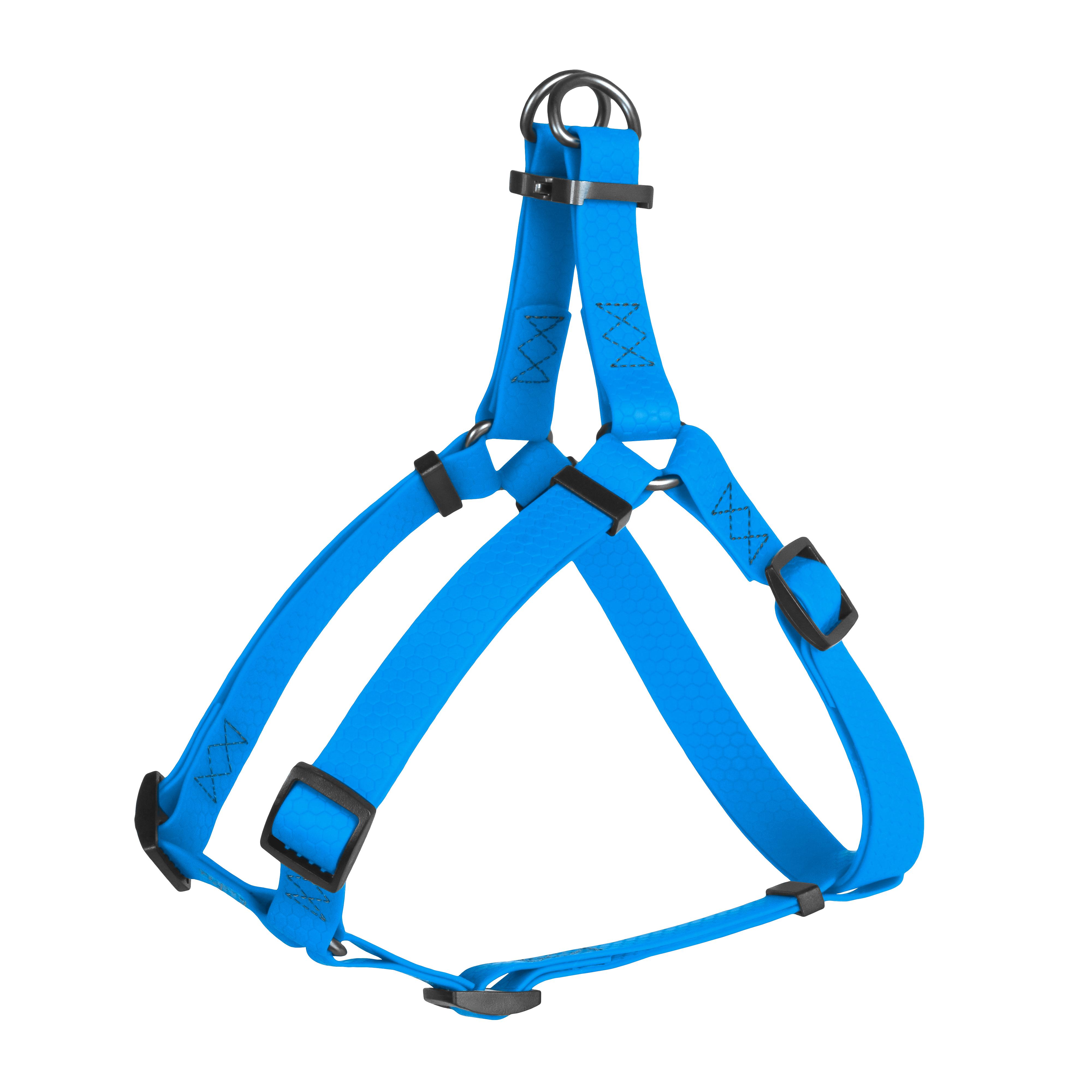 Шлея WAUDOG Waterproof, Водойстойкая, металическая фурнитура (ширина 25 мм, длина 60-90 см) голубая