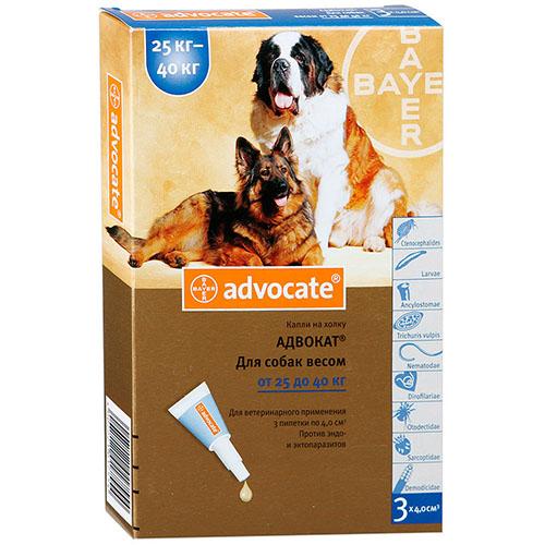 Advocate (Адвокат) капли для собак весом от 25 до 40 кг