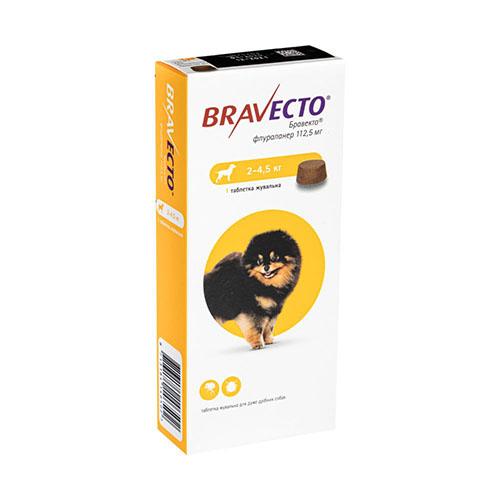 Bravecto (Бравекто) Таблетки от блох и клещей для собак весом от 2 до 4,5 кг