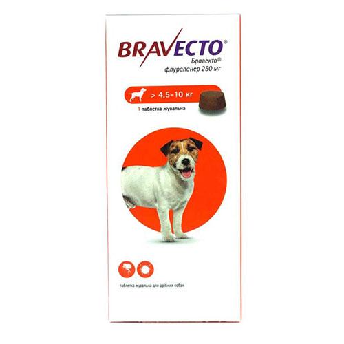 Bravecto (Бравекто) Таблетки от блох и клещей для собак весом от 4,5 до 10 кг