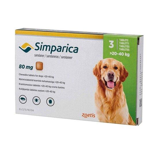 Жевательные таблетки Zoetis Симпарика - для собак 20-40 кг, от блох и клещей