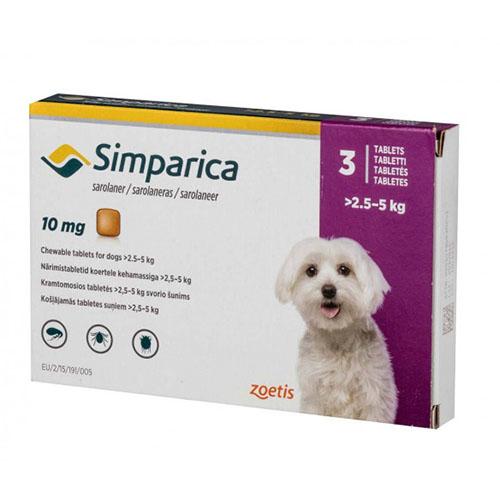Жевательные таблетки Zoetis Симпарика - для собак 2,5-5 кг, от блох и клещей