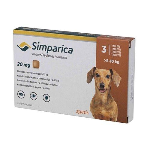 Жевательные таблетки Zoetis Симпарика - для собак 5 -10 кг, от блох и клещей