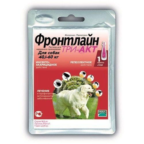 Фронтлайн TRI-ACT монопипетка для собак 40-60 кг (XL)