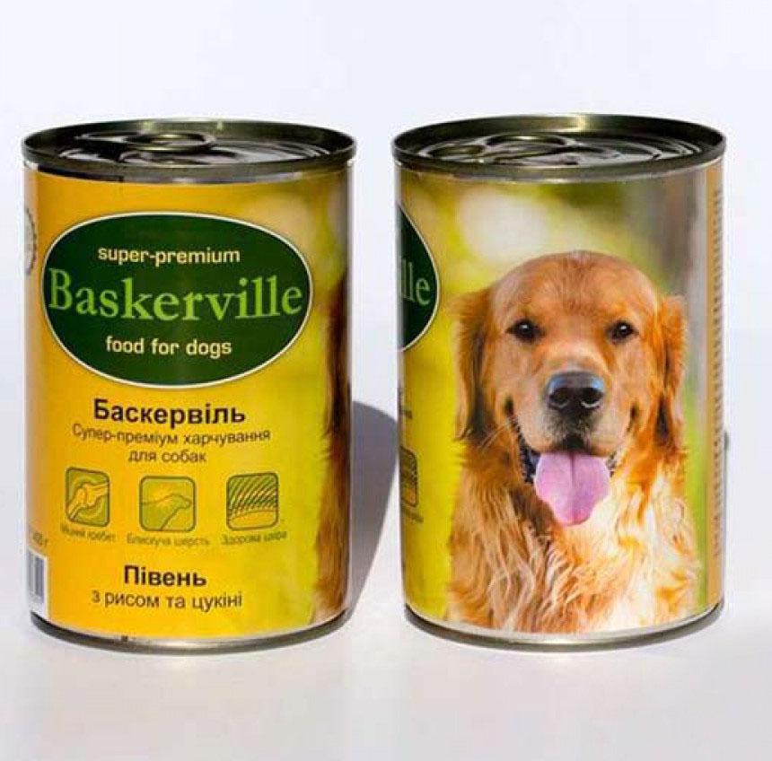 Baskerville Консервы для собак. Петух с рисом и цуккини