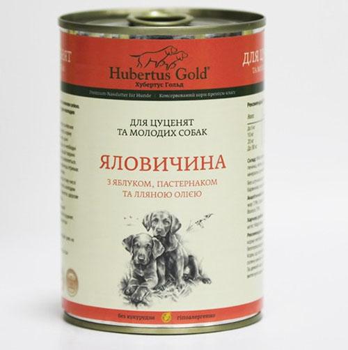 Hubertus Gold. Хубертос. Говядина с яблоком и пастернаком для щенков