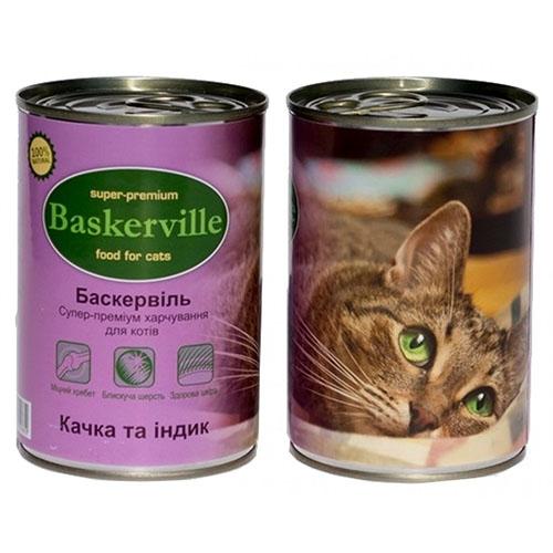 Baskerville Корм для кошек Утка и индюк
