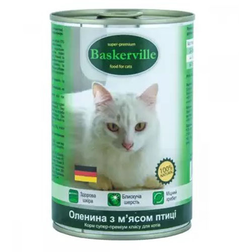 Baskerville Корм для кошек Оленина с мясом курицы