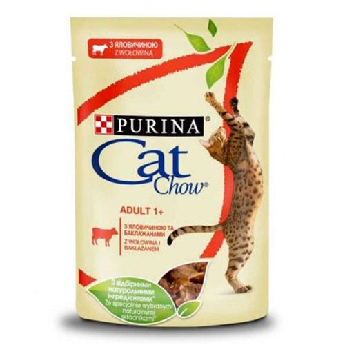 CAT CHOW ADULT С говядиной и баклажанами в желе консерва для кошек