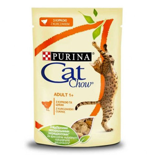 CAT CHOW ADULT С курицей и кабачками в желе консерва для кошек
