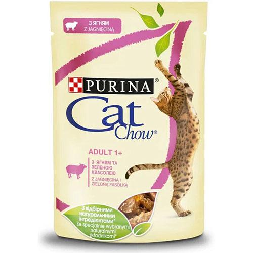 CAT CHOW ADULT С ягненком и зеленой фасолью в желе консерва для кошек