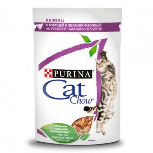 CAT CHOW Hairball С курицей и кабачками в желе консерва для кошек