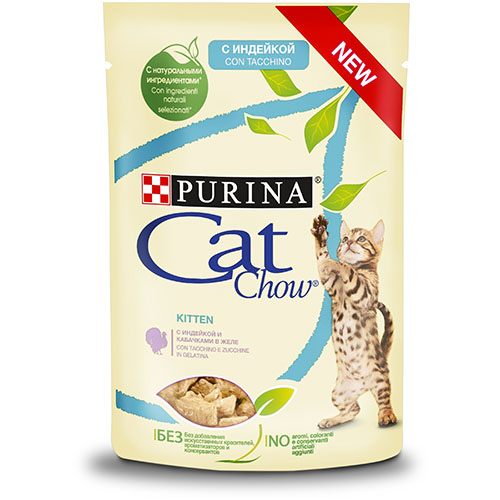 CAT CHOW Kitten С индейкой и кабачками в желе консерва для кошек