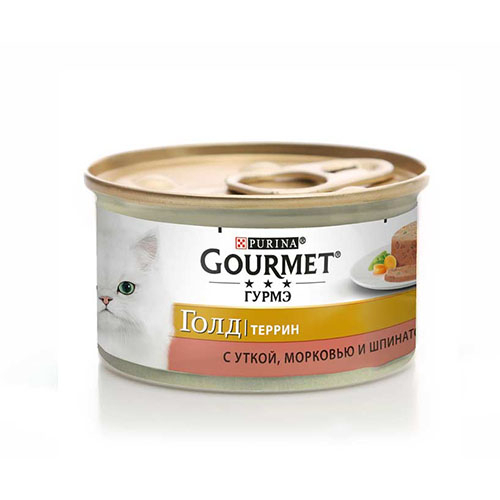 Gourmet Gold (Гурмет Голд) утка, морковь, шпинат, кусочки, консерва для кошек