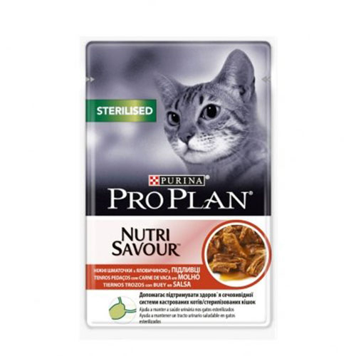 Pro Plan STERILISED ГУП с говядиной для кошек