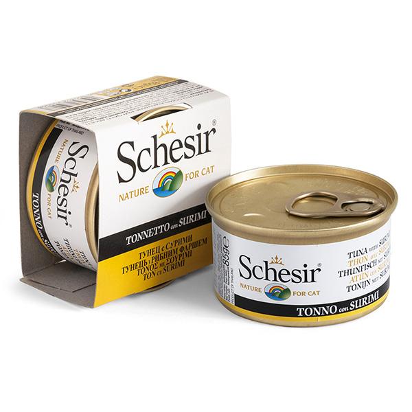 Schesir Cat Tuna Surimi ШЕЗИР ТУНЕЦ С СУРИМИ натуральные консервы для кошек, влажный корм тунец с сурими в желе