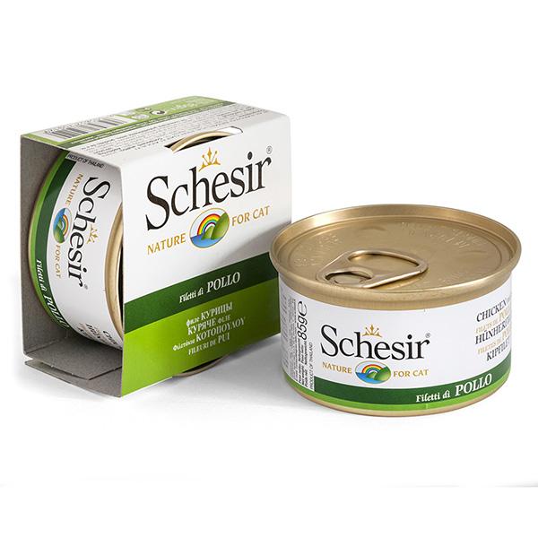 Schesir Chicken ШЕЗИР КУРИЦА натуральные консервы для кошек, влажный корм филе курицы в желе