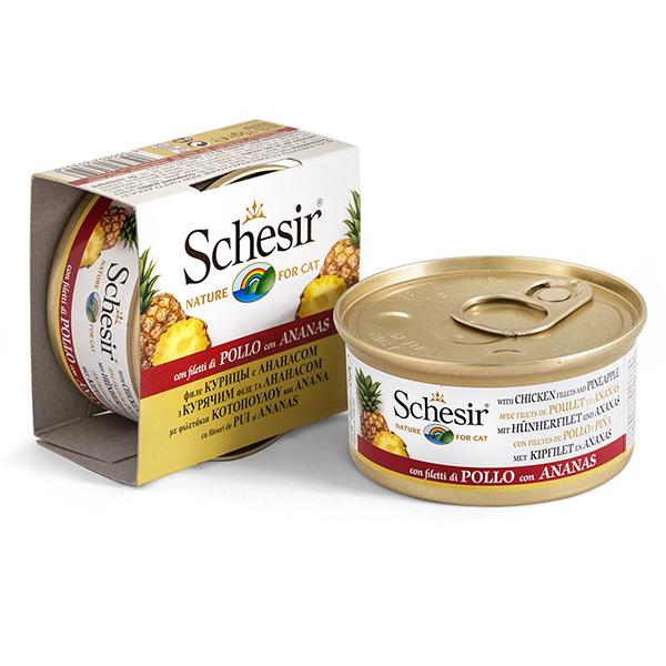 Schesir Chicken Pineapple ШЕЗИР КУРИЦА С АНАНАСОМ натуральные консервы для кошек, влажный корм филе курицы с ананасом