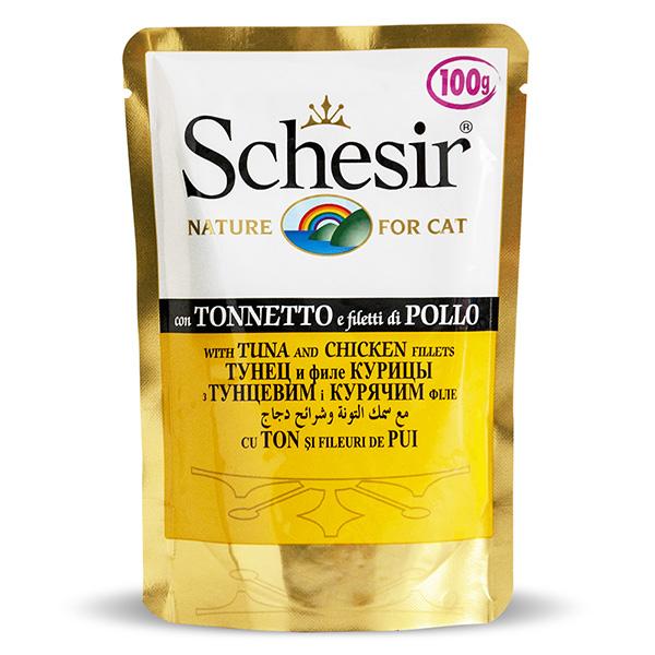 Schesir Tuna Chicken ШЕЗИР ТУНЕЦ С КУРИЦЕЙ влажный корм натуральные консервы для кошек, тунец с куриным филе в желе