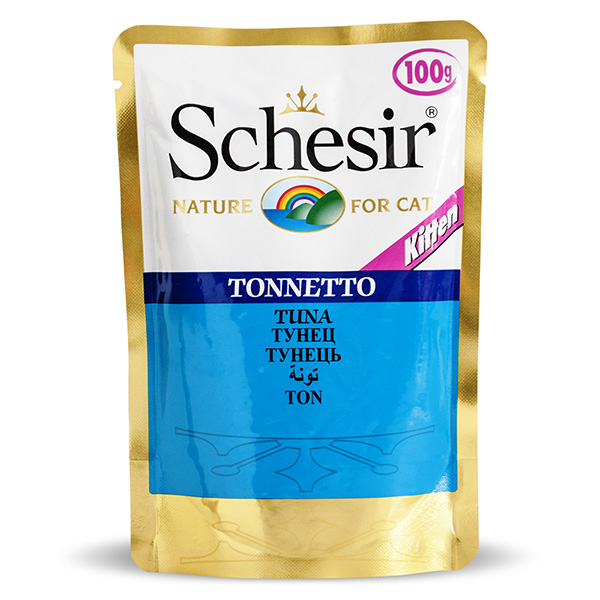 Schesir Tuna Kitten ШЕЗИР ТУНЕЦ ДЛЯ КОТЯТ влажный корм натуральные консервы для котят, тунец в желе