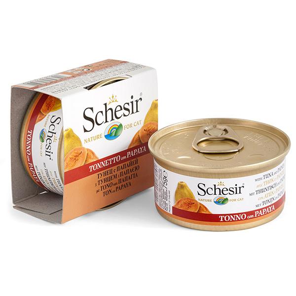 Schesir Tuna Papaya ШЕЗИР ТУНЕЦ С ПАПАЙЕЙ натуральные консервы для кошек, влажный корм тунец с папайей в желе