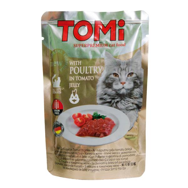 TOMi POULTRY in tomato jelly ТОМИ ПТИЦА В ТОМАТНОМ ЖЕЛЕ суперпремиум влажный корм, консервы для кошек