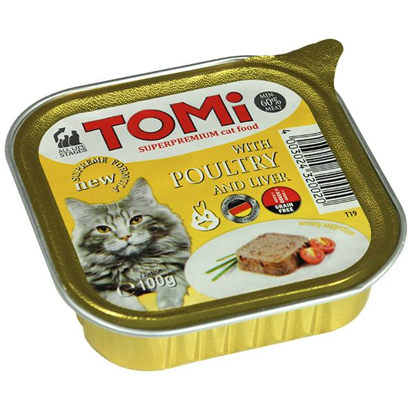 TOMi poultry liver ТОМИ ПТИЦА ПЕЧЕНЬ супер премиум корм для кошек, паштет