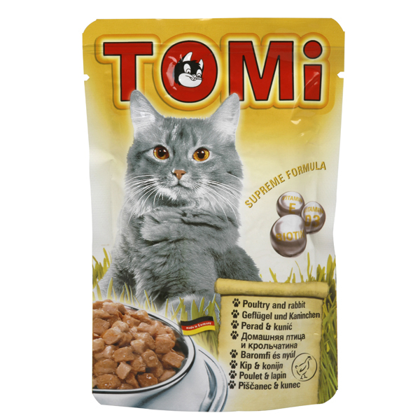 TOMi poultry rabbit ТОМИ ПТИЦА КРОЛИК консервы для кошек, влажный корм
