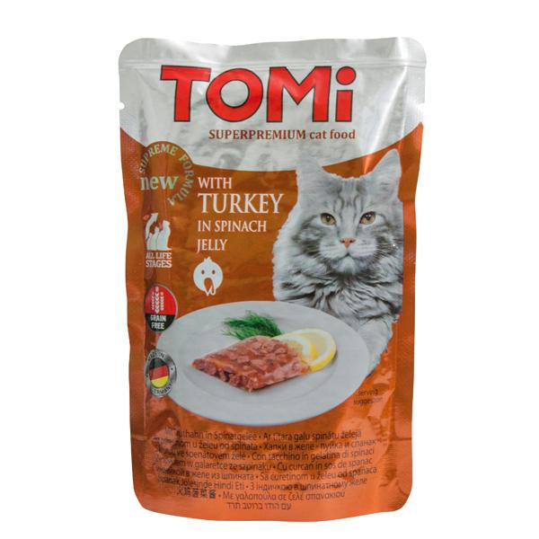 TOMi TURKEY in spinach jelly ТОМИ ИНДЕЙКА В ШПИНАТНОМ ЖЕЛЕ суперпремиум влажный корм, консервы для кошек