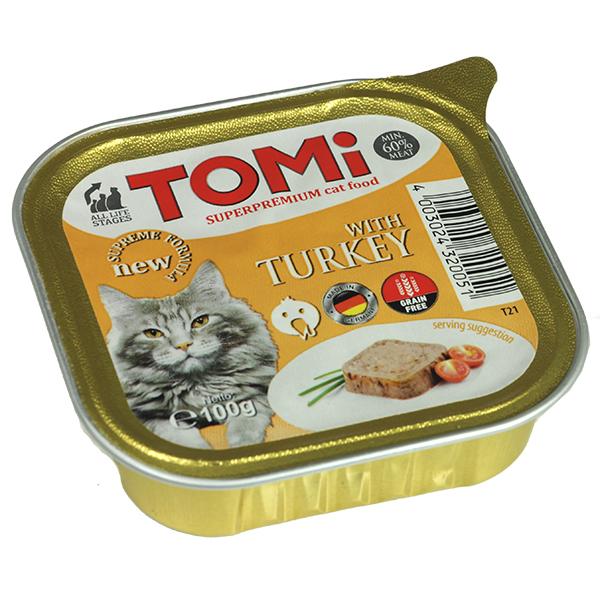 TOMi turkey ТОМИ ИНДЕЙКА супер премиум корм для кошек, паштет