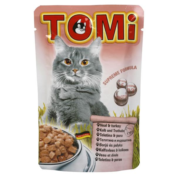 TOMi veal turkey ТОМИ МЯСО ИНДЕЙКА консервы для кошек, влажный корм